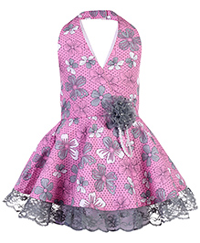 Babyhug Halter Neck Frock Floral Print - Pink And Grey