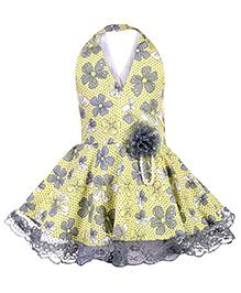 Babyhug Halter Neck Frock Floral Print - Yellow And Grey