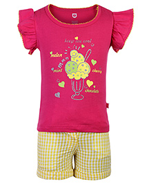 Baby League Top And Shorts Ice Cream Print - Pink And Yellow