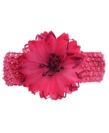 Stoln Crochet Pattern Headband Floral Applique - Pink