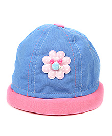 Babyhug Summer Cap Floral Patch Large - Blue And Pink