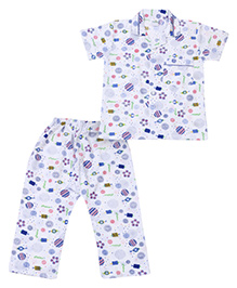 Babyhug Half Sleeves Night Suit Multi Print - White And Blue