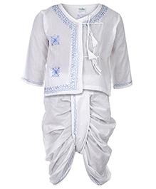 Babyhug Full Sleeves Kurta And Dhoti - White And Blue