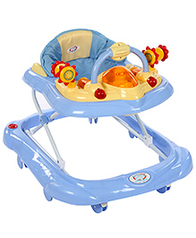 Musical Baby Walker Aeroplane Design - Blue And Yellow