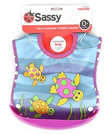 Sassy Crumb Catcher Waterproof Feeding Bib With Removable Tray - Turtle Print