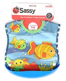 Sassy Crumb Catcher Waterproof Feeding Bib With Removable Tray - Fish Print