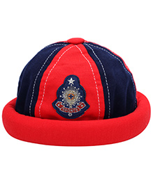 Babyhug Summer Cap Sports Print - Red And Navy Blue