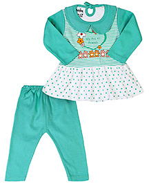 Babyhug Full Sleeves Frock Style Top And Legging - Light Green