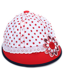 Babyhug Summer Cap Polka Dots Print And Flower Patch - Red And White