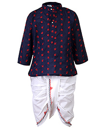Babyhug Floral Embroidery Kurta And Dhoti Set - Navy Blue And Red