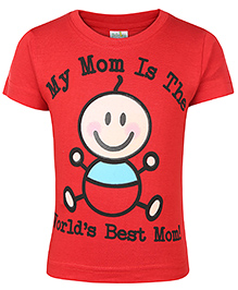Babyhug Half Sleeves T-Shirt Caption Print - Red
