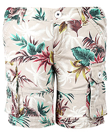 Pinehill Shorts With Six Pockets Tropical Print - Beige