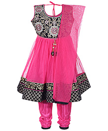 Babyhug Sleeveless Kurta And Churidar With Dupatta - Dark Pink And Black