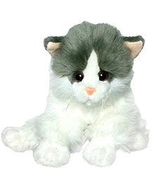 Soft Buddies Cat Soft Toy White And Grey - Height 8 Inches