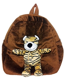 Soft Buddies Plush Toy Bag With Tiger - Brown