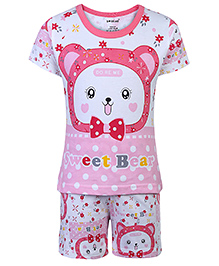 Doreme Half Sleeves T-Shirt And Shorts Sweet Bear Print - White And Pink