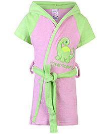 Pink Rabbit Hooded Bathrobe Titanosaurus Embroidery - Pink And Green
