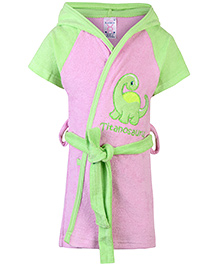 Pink Rabbit Hooded Bathrobe Titanosaurus Embroidery - Pink And Green
