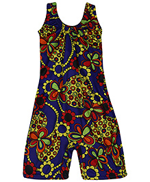 Bosky Sleeveless One Piece Divider Style Swimsuit Floral Print - Royal Blue