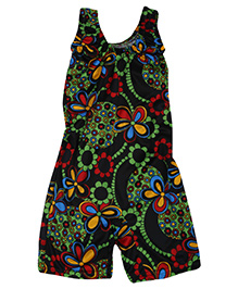 Bosky Sleeveless One Piece Divider Style Swimsuit Floral Print - Black And Green