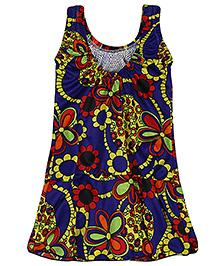 Bosky Sleeveless One Piece Frock Style Swimwear Floral Print - Royal Blue