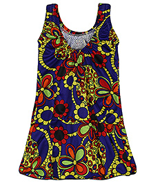 Bosky Sleeveless One Piece Frock Style Swimwear Floral Print - Royal Blue