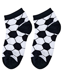 Cute Walk Socks Football Design - Black And White