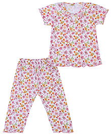 Little Half Sleeves Night Suit Floral Print - White And Pink