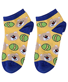 Cute Walk Socks Bear Design - Yellow And Royal Blue
