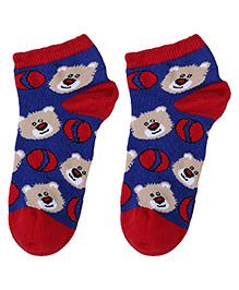 Cute Walk Socks Bear Design - Red And Royal Blue