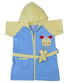 Pink Rabbit Hooded Bathrobe Baby Giraffe Embroidery - Sky Blue And Yellow