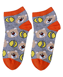 Cute Walk Socks Bear Design - Grey And Orange