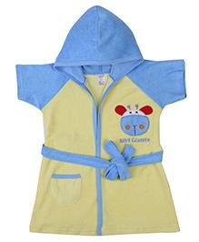 Pink Rabbit Hooded Bathrobe Baby Giraffe Embroidery - Yellow And Sky Blue