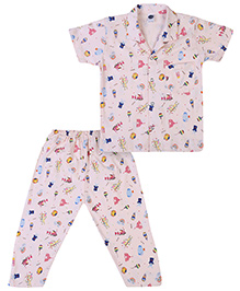 Teddy Half Sleeves Night Suit Multiprint - Light Pink