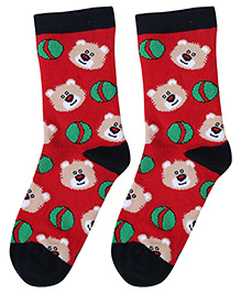 Cute Walk Socks Bear Face And Ball Design - Red And Navy Blue