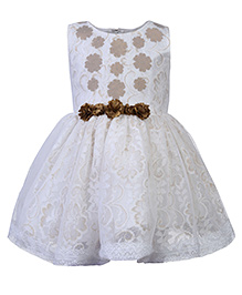 Babyhug Sleeveless Party Dress Contrast Floral Appliques - Off White