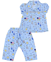 Babyhug Short Sleeves Night Suit Butterfly Print - Sky Blue
