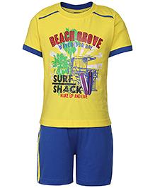 Taeko Half Sleeves T-Shirt  And Shorts Set - Yellow And Royal Blue