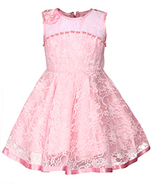 Babyhug Sleeveless Party Wear Net Frock With Pearls Detailing - Pink