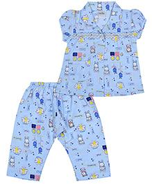 Babyhug Short Sleeves Night Suit Butterfly Print - Sky Blue