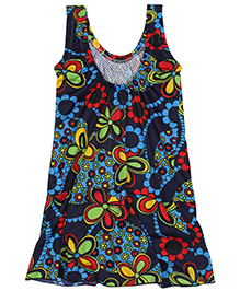 Bosky Sleeveless One Piece Frock Style Swimsuit Floral Print - Blue