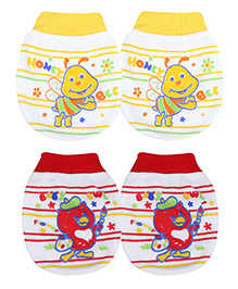 Babyhug Ribbed Mittens Set Of 2 Pairs Printed - Yellow And Red