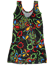 Bosky Sleeveless One Piece Frock Style Swimwear Floral Print - Black And Green