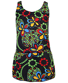 Bosky Sleeveless One Piece Frock Style Swimsuit - Black And Green