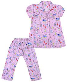 Babyhug Short Sleeves Night Suit Butterfly Print - Pink