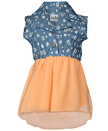Babyhug Collar Frock With Raw Edge Sleeves - Peach