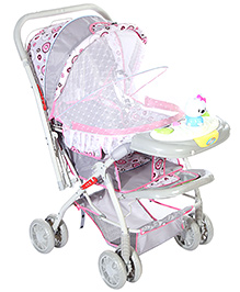 Baby Pram With Play Tray - Grey Pink And White - 549368