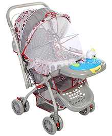 Baby Pram With Play Tray - Grey Red And Blue
