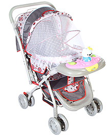 Baby Pram With Play Tray - Grey Red And Light Pink