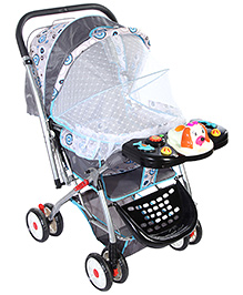 Baby Pram With Play Tray - Grey Black And Blue